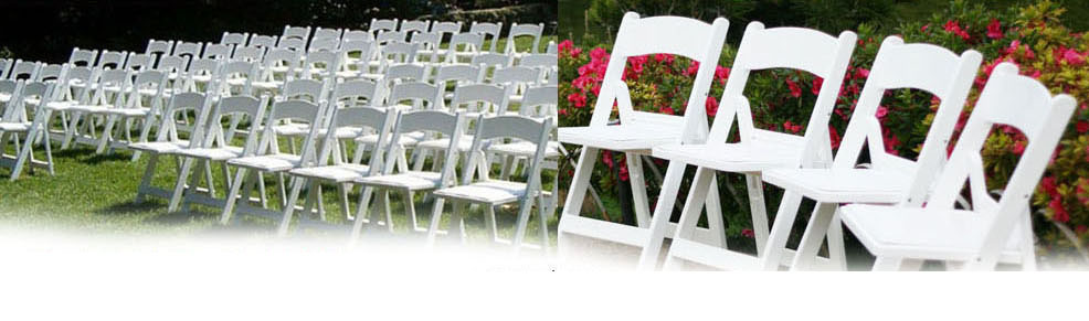 Display of white chairs